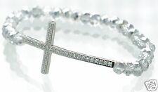 Steel by Design Crystal Cross Stretch Bracelet