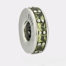 OLIVE GREEN ETERNAL SPACER .925 Sterling Silver European Charm Bead CR1