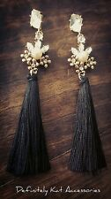 Stunning pearl crystal long drop black tassel statement cocktail stud earrings