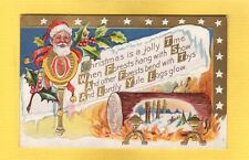 SANTA Christmas is Jolly Time Yule Logs glow holly stars