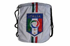 """ITALY WHITE FIGC LOGO FIFA WORLD CUP DRAWSTRING KNAPSACK BAG  SIZE:14"""" X 18"""" IN"""