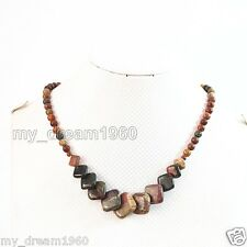 Natural 6-20mm Multicolor Picasso Jasper Round & Square pendant Necklace