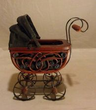 """Miniature baby carriage wood and metal 10"""" x 11"""" Old Fashion Style"""