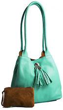 Big Handbag Shop Trendy Echtleder Klein Lässig Hobo mit Quaste Handtasche