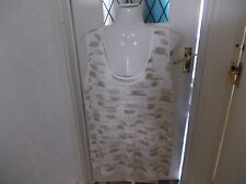 PAPAYA CREAM AND BEIGE SLEEVELESS LADDER STITCH JUMPER SIZE 16