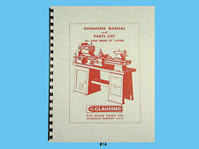 """Clausing 12"""" Lathe 6300 Series Operating and Parts List Manual *816"""