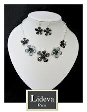 Set Kette Ohrringe Halskette Schmuckset Collier Emaille Versilbert Strass Blumen