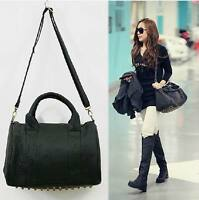 HOT~~NEW Celebrity Stud Studded Bottom Black Duffel Tote Bag
