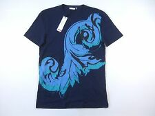 VERSACE COLLECTION V800537 DARK BLUE SMALL PAINTING PAINT ART TSHIRT MENS NWT