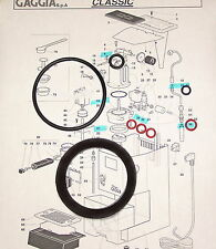 GAGGIA Classic, Baby, Evolution, Twin Espresso Coffee FULL Gasket Repair KIT