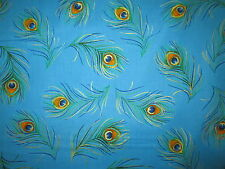 PEACOCK FEATHERS METALLIC GOLD BLUE FEATHERS COTTON FABRIC FQ