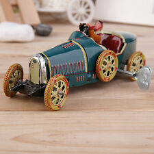 Vintage Metal Tin Sports Car with Driver Clockwork Wind Up Toy Collectible HR