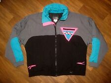 Vtg 80s Skitique Black Neon COLOR BLOCK Mens XL Puffy SKI Snowboard Jacket Coat