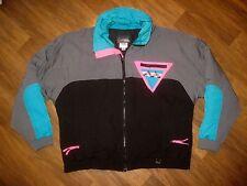 Vtg 80s Skitique Black Neon COLOR BLOCK Mens XL Puffy SKI Snowboard Jacket Coat