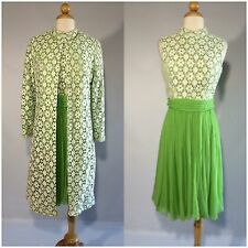 Vintage 60s Green White Lace Dress And Jacket Set Suit