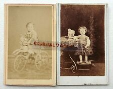 2 CDV PHOTO ENFANTS JOUET CHEVAL DE BOIS TRICYCLE PETIT MOUTON O450