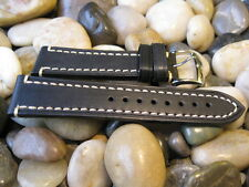 22 mm Hirsch LIBERTY Black Distressed Genuine Leather Watch Band! strap aviator