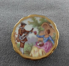 "Limoges Signed Miniature Plate Hand Painted~Romantic Garden Serenade~1 3/4"" D."