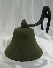 ANTIQUE BRONZE MARITIME SHIP FOG BELL ON A HORSE SHOE