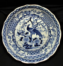 "Japanese Imari Blue and White PEACOCK Bowl Plate Signed 10"" Scalloped Edges"