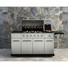 6 Burner Stainless Steel Front Gas Grill Lid BBQ Storage Cast Iron Grid Outdoor
