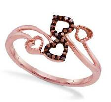 So Charming! 100% 10K Rose Gold Red Diamond Bypass Heart Ring .06ct