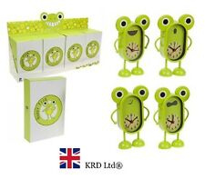 GREEN HAPPY FROG Kids METAL ALARM CLOCK Bedside Table Girls Boys Birthday Gift
