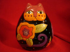 Laurel Burch for Ganz Large Colorful Ceramic Cat with Flowers Signed #BC8111