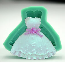 Wedding Dress Fondant Mould Silicone Cupcake Cake Craft Sugar 3D Chocolate Mold