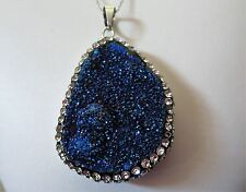 """Large Sterling Silver .925 Blue Druzy Pendant Necklace With 18"""" Chain Sparkling!"""