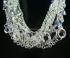 """wholesale 5pcs solid 925Silver thin 1.8mm """"O"""" Link Chains Necklaces 18"""" inch"""