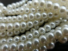 1 Strand (140 Beads) 6mm Cream Ivory Glass Pearl Beads, Faux Imitation Pearls