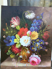 """Oil Painting- 8""""x10 FORMAL"""" FLORAL SILL LIFE-New canvas-Stretched"""