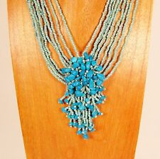 "18"" Turquoise Color Stone Chip Cluster Handmade Seed Bead Necklace"