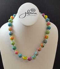 Jilzara Resort Medium Silverball Necklace Polymer Clay Beads Handmade O12
