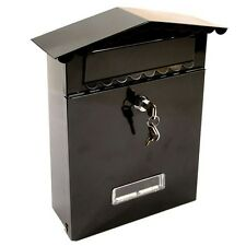BLACK LETTER POST MAIL MAILING BOX POSTAGE LETTER BOX METAL STEEL LOCK ABLE NEW