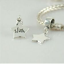 WISH engraved STAR-Solid 925 sterling silver European dangle charm bead/ Pendant