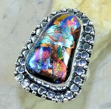 Sparkling Dichroic Glass 100% Pure 925 Sterling Silver Rings Size: 8.75 #C41814