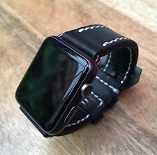 High Quality Black Leather Watch Strap  Band for Apple Watch Iwatch 42mm UK3