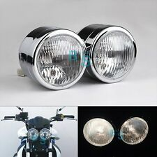 "Dominator Chrome Dual 4"" Headlights Bracket Streetfighter Cafe Racer GSF600 EV"