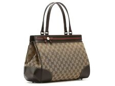 GUCCI Mayfair GG Canvas Fabric Leather Medium Tote Bag ITALY Authentic 100%