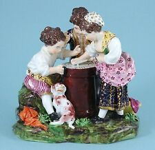 Rare Bloor Derby Porcelain Group of Children Playing a Game, c1825