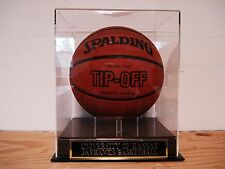 Basketball Display Case With A Kansas Jayhawks Nameplate For A Signed Basketball