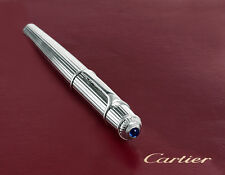 Cartier Fountain Pen Diabolo Platinum Godron Pinstripe Authentic
