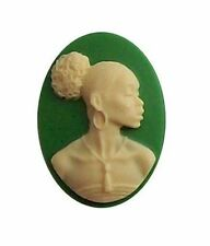 afrocentric Cameo African American Cameo 25x18 Green Resin Cameo cabochon 609x