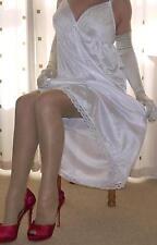 White silky nylon long lace bra full slip~nightie X~Large plus size  BNWOT