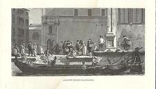Stampa antica Veduta di VENEZIA Barca da latte 1880 Old Print VENICE Engraving