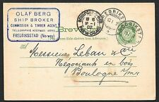 Norway covers 1902 PC Ship Broker/Frederiksstad to Boulogne sur Mer