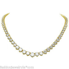 12 CARAT ROUND CUT CZ CUBIC ZIRCONIA YELLOW GOLD TENNIS NECKLACE