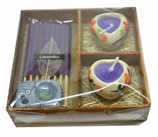 Mini Incense, Elephant Burner & Heart Candle Lavender Gift Set Stocking Filler